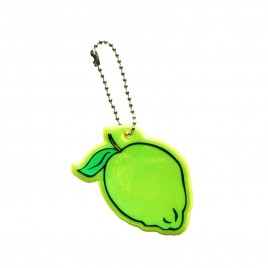 Soft reflector on chain / snap hook – lemon