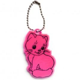 Kot różowy - zawieszka odblaskowa miękka
