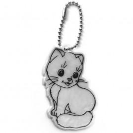 Kot srebrny - zawieszka odblaskowa miękka