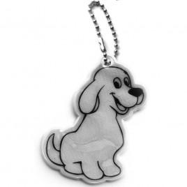 Pies srebrny- zawieszka odblaskowa miękka