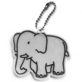 Słoń srebrny - zawieszka odblaskowa miękka