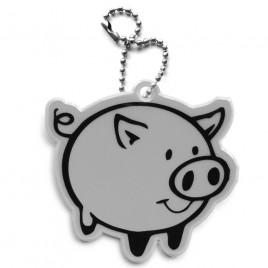 Świnka srebrna - zawieszka odblaskowa miękka