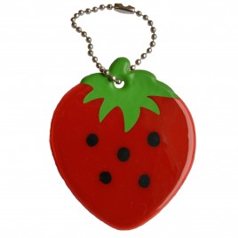 Soft reflector on chain / snap hook – strawberry