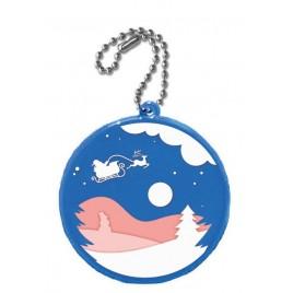 zawieszka odblaskowa KÓŁKO niebieskie- nadruk świąteczny!