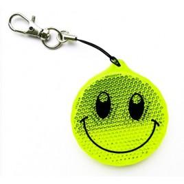 Zawieszka odblaskowa twarda uśmiech limonka