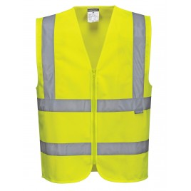C470 warning vest with vertical and horizontal straps, yellow