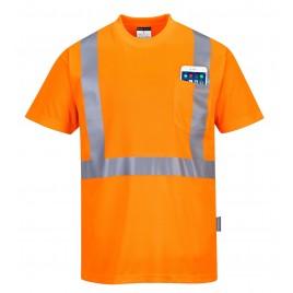 T-shirt ostrzegawczy z kieszonką CE S190 pomarańczowy