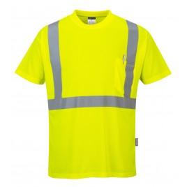 T-shirt ostrzegawczy z kieszonką CE S190 żółty