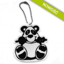 Miś panda srebrny - zawieszka odblaskowa miękka