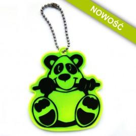 Miś panda żółty - zawieszka odblaskowa miękka